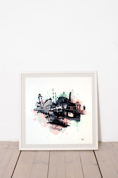 WIEN II. LIMITED EDITION NUMBERED AND SIGNED GRAPHICS PRINTA HAND-MADE WATER-BASED SILKSCREEN PRINT ON RECYCLED PAPER