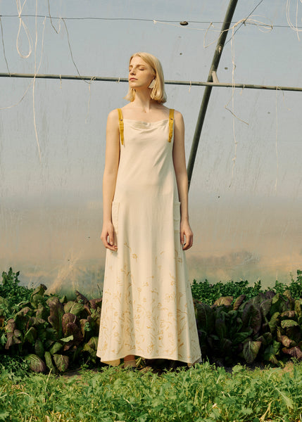 Zero Waste Beige Maxi Dress With Flowers Print