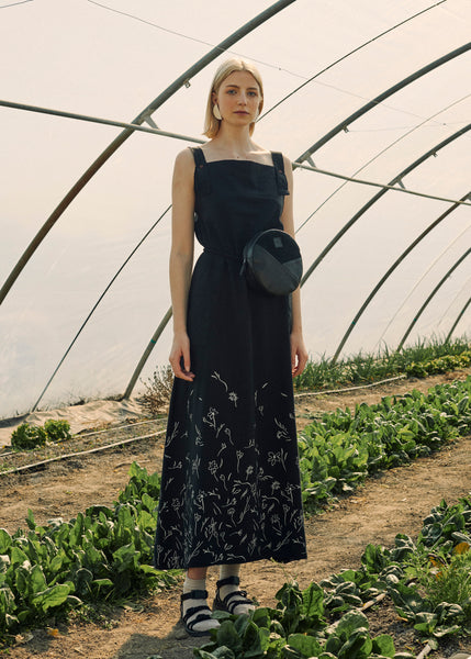 Zero Waste Black Maxi Dress With Flowers Print