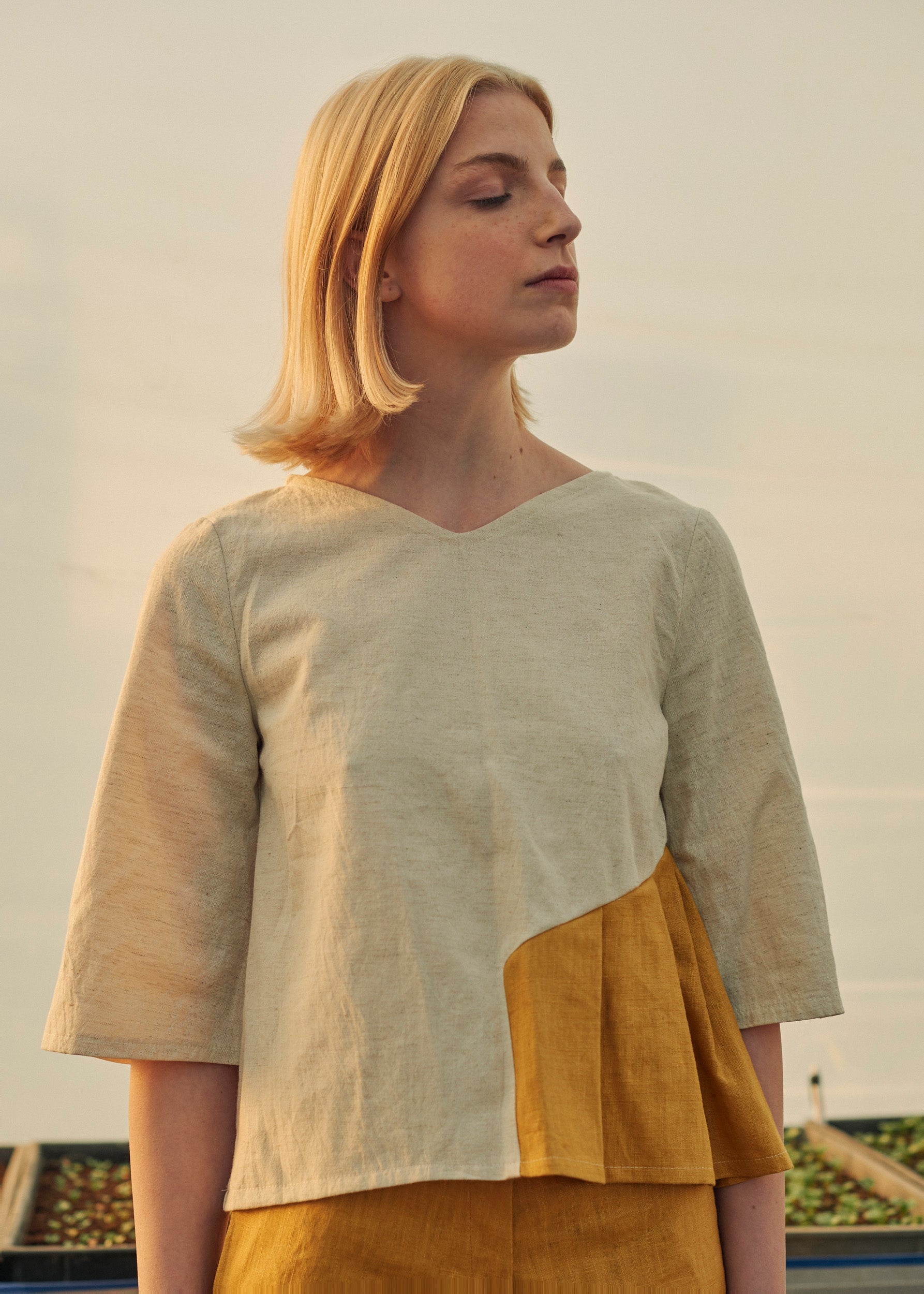 Natural Linen - Cotton Blouse With Yellow Side Inlay