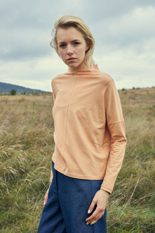 Peach Turtleneck With Leaves Pattern