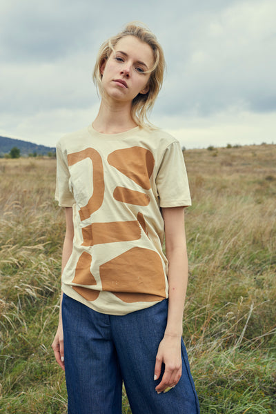 Natural Unisex T-Shirt With Modern Pattern