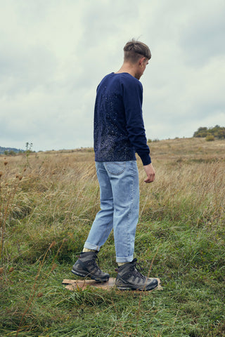 Navy Unisex Sweater With Spotty Pattern