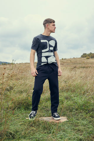 Acid Black T-Shirt With Modern Pattern