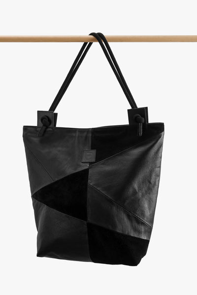 Black Patchwork Leather Shoulder Bag
