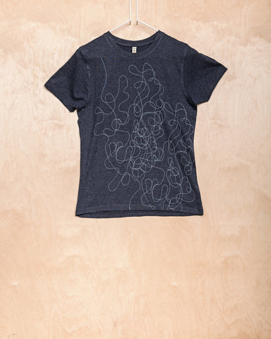 Navy T-Shirt With Curlicued Pattern