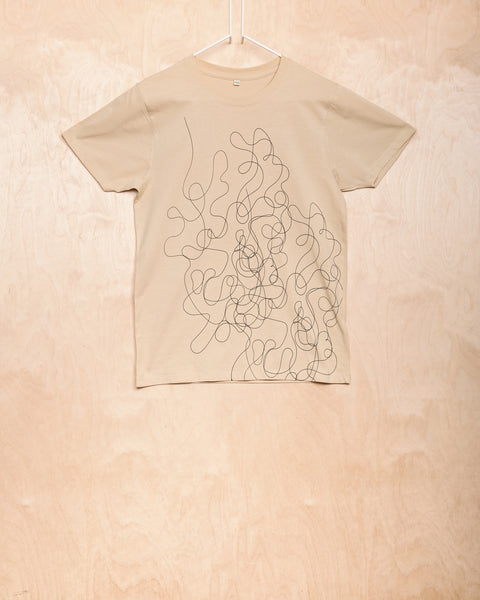 Natural Unisex T-Shirt With Curlicued Pattern
