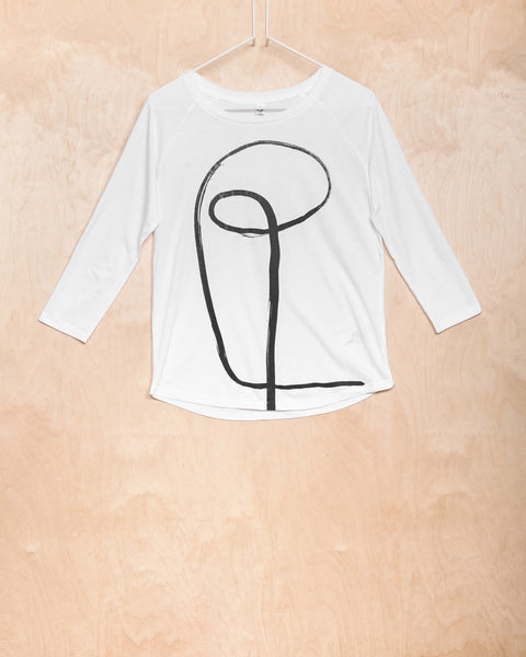 White Tencel Top With Initial Pattern