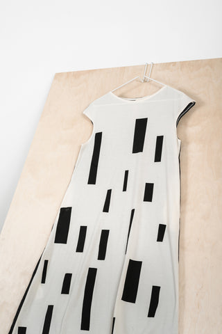 Beige-Black Dress with Block Pattern