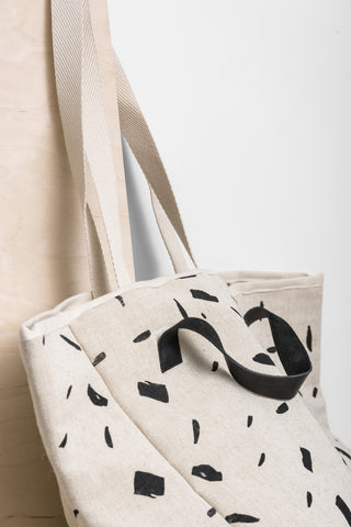 Brushstrokes Shopper Bag with Leather Handles