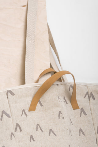 """V"" SHOPPER BAG WITH LEATHER HANDLES"