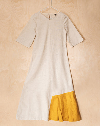 Natural Linen - Cotton Maxi Dress With Yellow Side Inlay