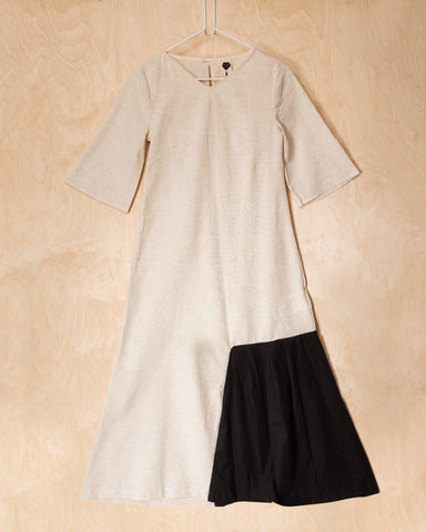 Natural Linen - Cotton Maxi Dress With Black Side Inlay