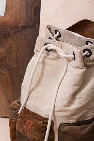Beige & Brown Backpack With Three Pockets