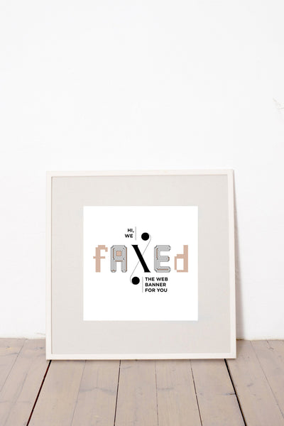 HI WE FAXED THE WEB BANNER FOR YOU MARCELL PUSKÁS PUSKAAS PRINTA HAND-MADE WATER-BASED SILKSCREEN PRINT ON RECYCLED PAPER