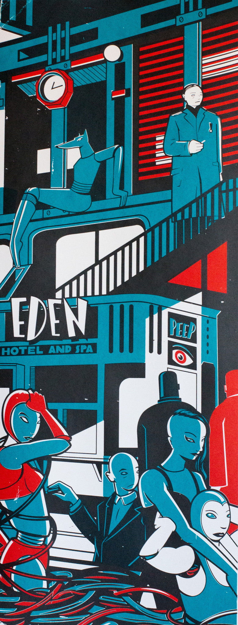 HOTEL EDEN PRINT BY ANDRÁS BARANYAI LIMITED EDITION NUMBERED AND SIGNED GRAPHICS PRINTA HAND-MADE WATER-BASED SILKSCREEN PRINT ON RECYCLED PAPER