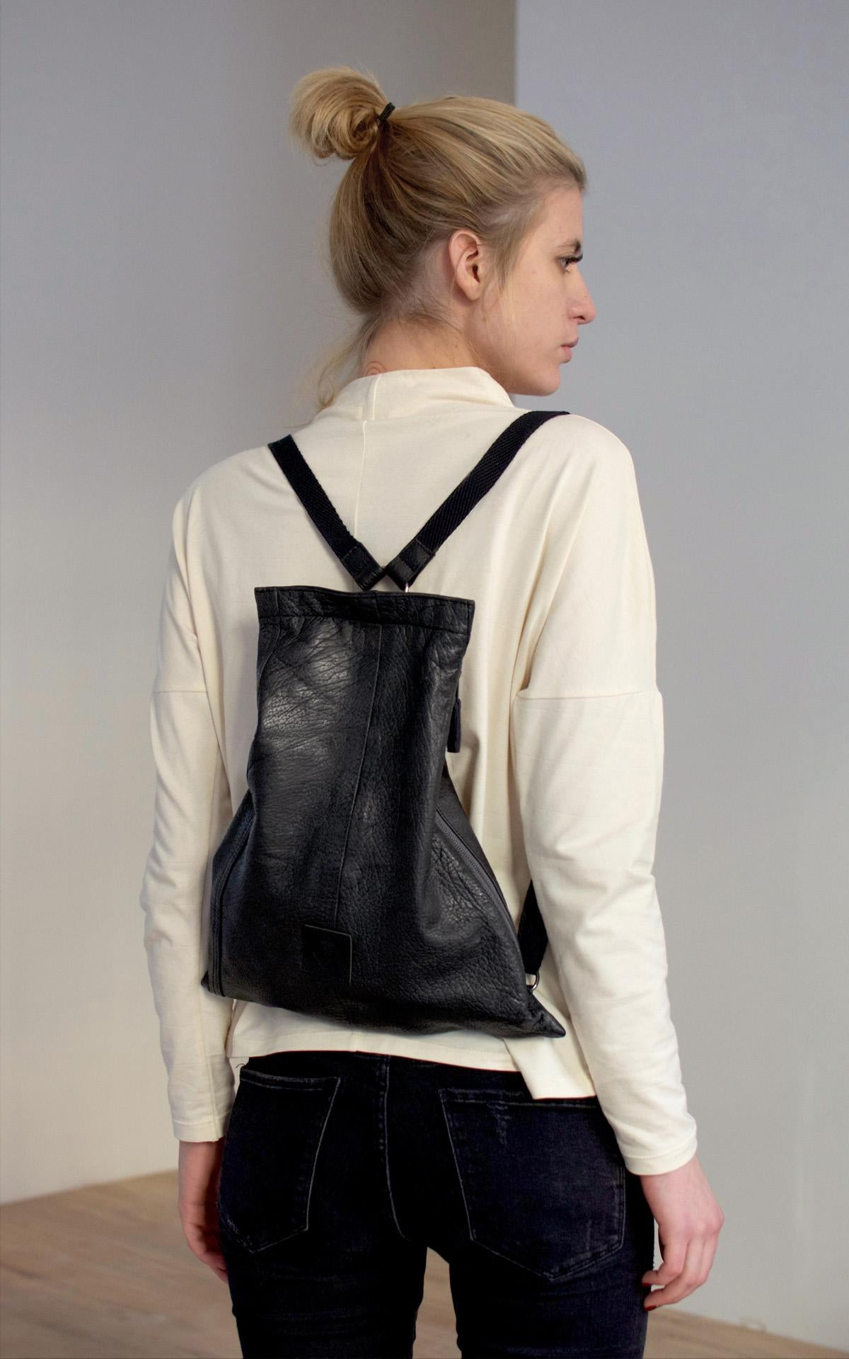 BLACK LEATHER SLEEVE BACKPACK
