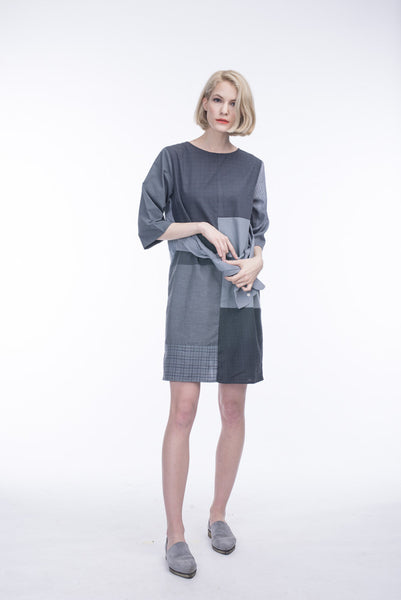 GREY PATCHWORK SLEEVE-BELT DRESS