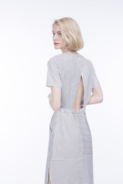 OPEN BACK DRESS WITH STRIPES