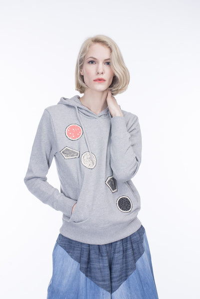 GREY HOODIE WITH PATCHES