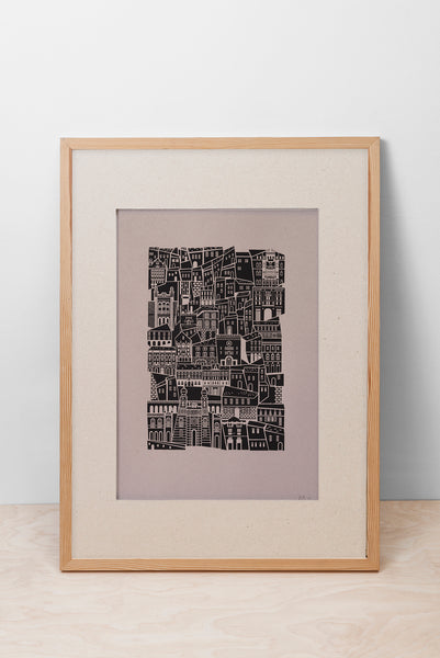 JEWISH QUARTER BUILDINGS PRINT - BEIGE