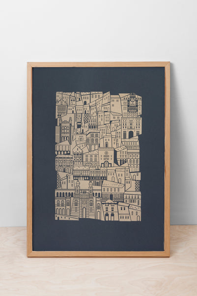 JEWISH QUARTER BUILDINGS PRINT - GREY