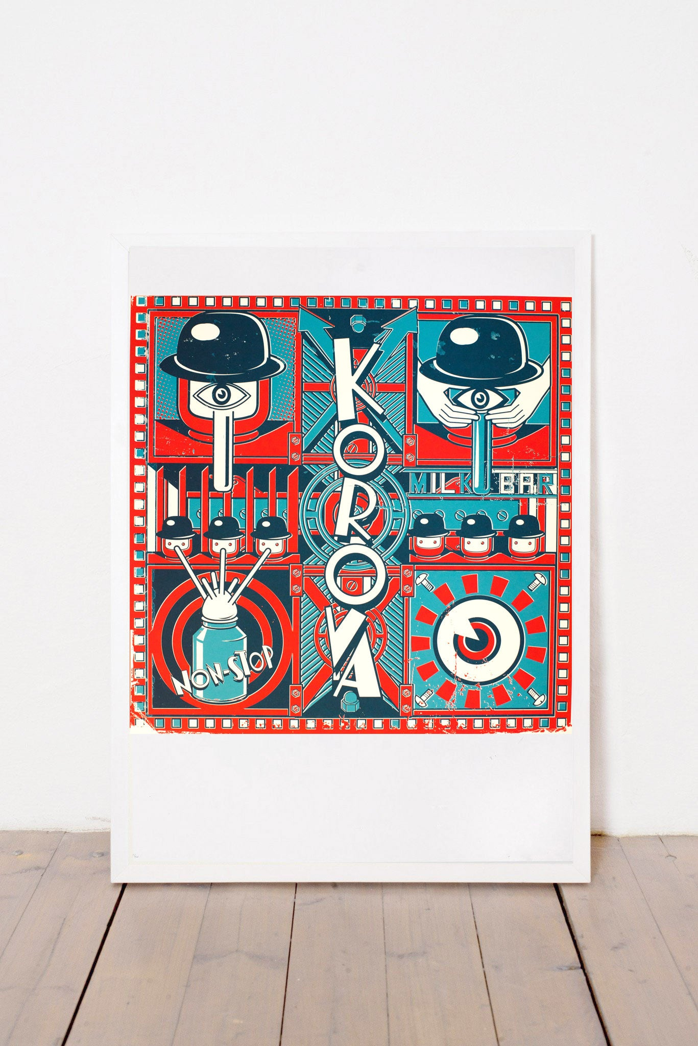 KOROVA PRINT BY ANDRÁS BARANYAI LIMITED EDITION NUMBERED AND SIGNED GRAPHICS PRINTA HAND-MADE WATER-BASED SILKSCREEN PRINT ON RECYCLED PAPER