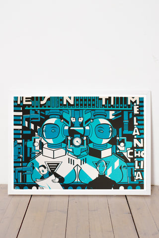 TWIN MACHINE PRINT BY ANDRÁS BARANYAI LIMITED EDITION NUMBERED AND SIGNED GRAPHICS PRINTA HAND-MADE WATER-BASED SILKSCREEN PRINT ON RECYCLED PAPER