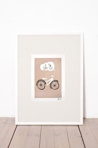 BICYCLE LOVE PRINT - BROWN