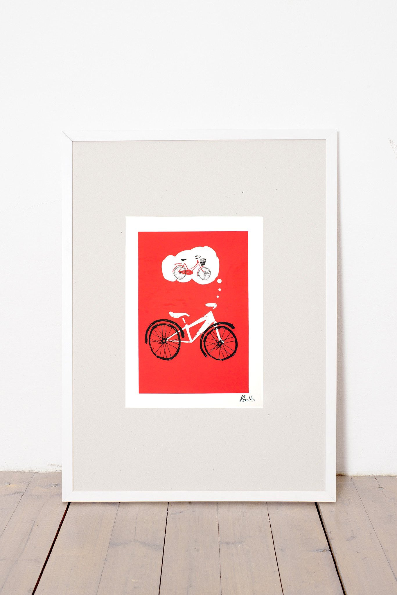 BICYCLE LOVE PRINT - RED