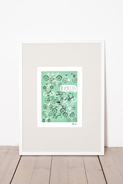 BICYCLES PRINT - GREEN