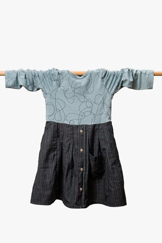 Grey / Blue Kids Shirt Dress
