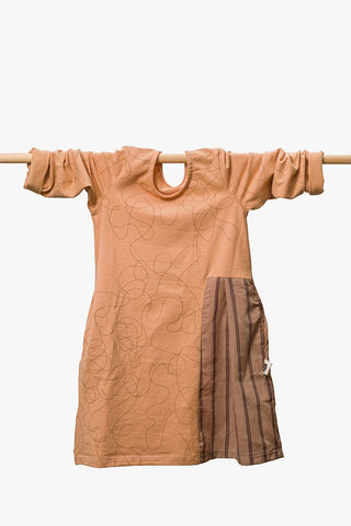 Peach Kids Dress With Shirt Inlay