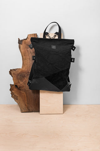 Black Jute Cotton & Leather Backpack