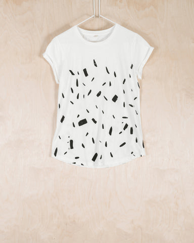 WHITE T-SHIRT WITH BRUSHSTROKES PATTERN