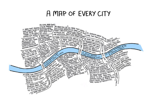A Map Of Every City - Large (A2)