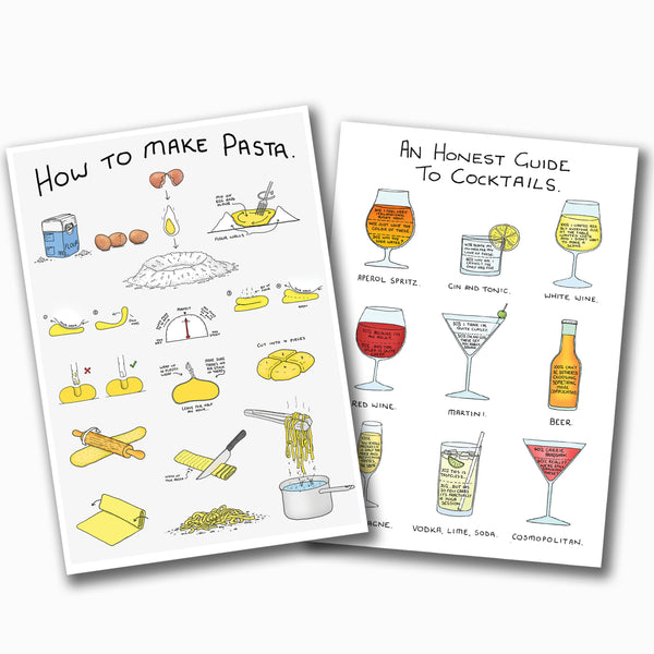 Cocktails and Pasta Poster Pack (2 x A2)
