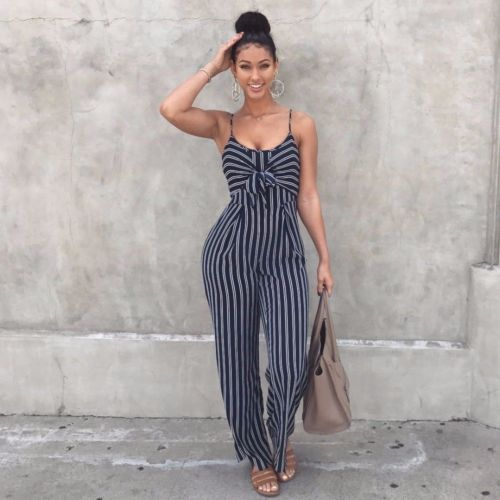 2019 Elegant Striped Sexy Spaghetti Strap Rompers Women Sets Sleeveless Backless Bow Casual Wide Legs Jumpsuits Leotard Overal Size S M L XL
