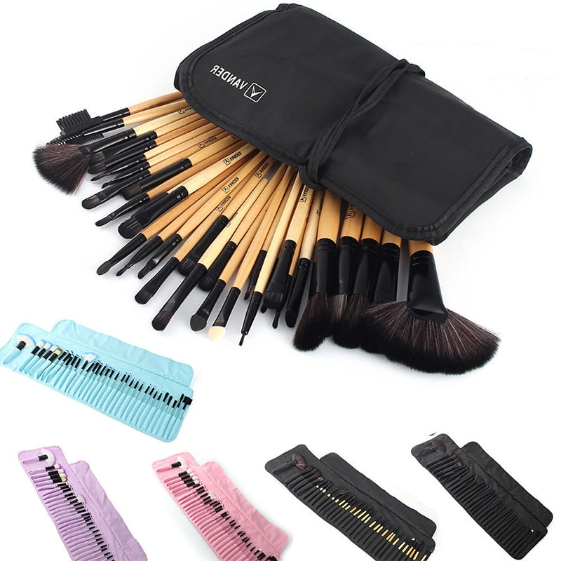 32Pcs Set Professional Makeup Brush Foundation Eye Shadows Lipsticks Powder Make Up Brushes Tools w/ Bag pincel maquiagem