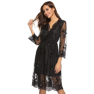 Winter Dress Women 2019 Sexy Mesh V Neck Sequins