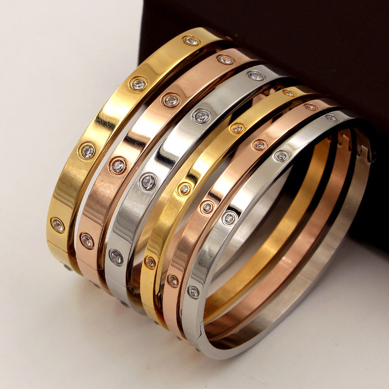Beautiful Lovers Bracelets Woman Bracelets Stainless Steel Bangles and Bangles Cubic Zirconia Golden Woman Jewelry Gifts Available Size  4, 6, 7 (mm) and color ( Silver, Gold, Rose Gold)
