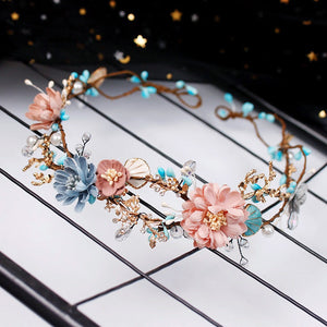 Wedding Jewelry Hairbands Crown Forest Style Seaside Party Engagement Hair Accessories For Bridal Flower Beads Yarn Gift 9870