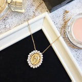 Faux pearl virgin mary pendant short chain necklace for women Maria disc statement necklace fashion jewelry 2019