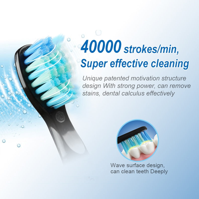 Electric Toothbrush Clean as Dentist Rechargeable Sonic Toothbrush with Smart Timer 5 Modes Travel Toothbrush with 3 Brush Heads