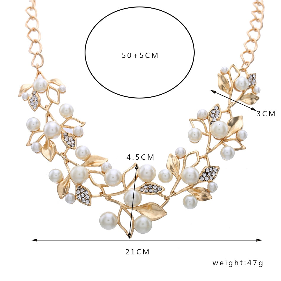 Pearl Necklaces & Pendants Leaves Statement Necklace Women Collares Ethnic Jewelry for Personalized Gifts