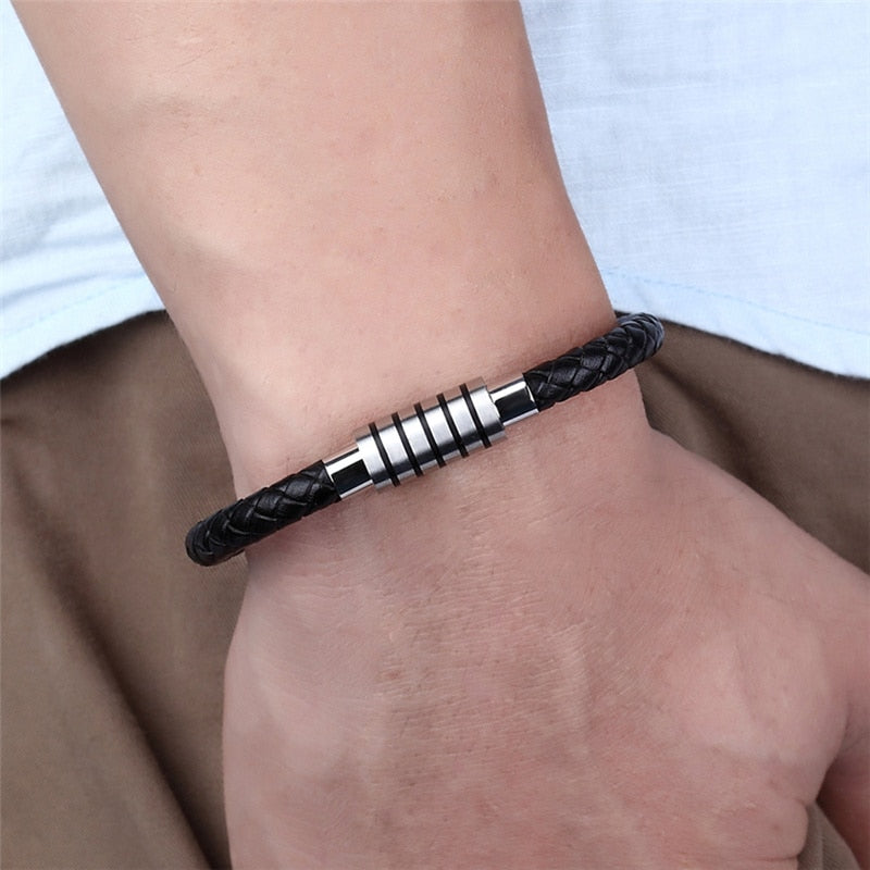 NEW Punk Black and white Braided Steel wire Bracelet Magnetic Buckle Simple Style Fashion Wristband Men Stainless steel bracelet