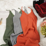 New Women Spaghetti Strap Dresses Split V-Neck Lace