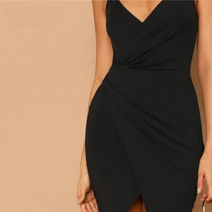 Sexy Black Overlap Split Front Backless Bodycon Summer