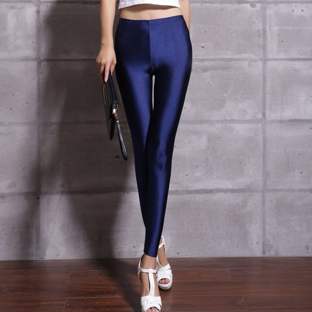 Hot Selling 2019 Women Solid Color Fluorescent Shiny Pant Leggings Large Size Spandex Shinny Elasticity Casual Trousers For Girl