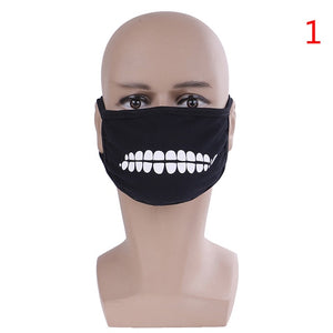 Black Unisex Face Mask Cute Anime Mouth Mask Cotton Fabric Anti Dust Pollution Masks For Man Woman Keep Warm Mouth Face Mask